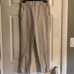 Hollister High-Rise Blue/White/Tan Stripe Pants